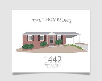 "Custom House Portrait - 8""x10"" - House Illustration Print Wall Art - Housewarming Gift"