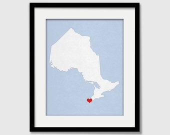 Ontario Canada Providence Map Custom Personalized Heart Print I Love Hometown Wall Art Gift Souvenir
