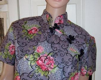 fun gray cotton cheongsam with rose print ... fabulous 1960 wiggle fit, L dress