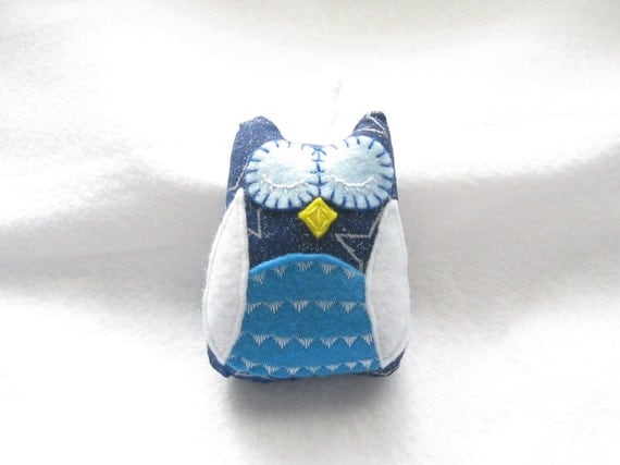 Blue Sleeping Owl Ornament