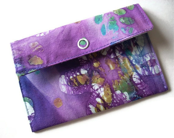 Small Fabric Wallet, Gift Card Holder, Purple Batik