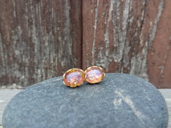Lacy Edge with Vintage Harlequin Fire Opal. Stud Earrings Oval 8x6mm. Studs.