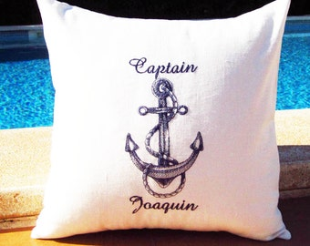 Seaside Inspired Personalized Embroidered Nautical Pillow Cover  - Captain - 100% Linen -  Nautical  Beachhouse Birthday Boat Gift
