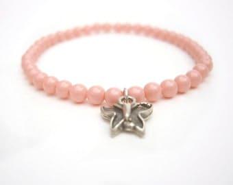 Butterfly Bracelet, Swarovski Bead Bracelet: Peach Bracelet with Butterfly Charm, Stretchy Bracelet