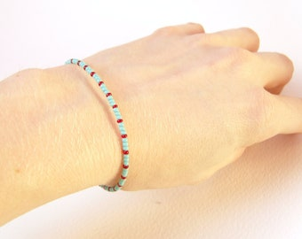 Simple Friendship Bracelet, Turquoise and Red, Beadwork Bracelet, Seed Bead Jewelry UK