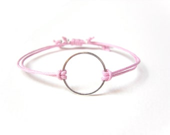 Silver Eternity Bracelet, Pink String Bracelet, Gifts For Teenagers, String Jewelry UK