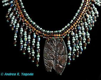 Turquoise, Tortoiseshell Drop Collar Necklace