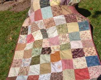 Country Primitive Handmade Quilt Fathers Day Gift Classic Americana Traditional Patchwork Country Earth Tones Autumn Fall  Lap Quilt