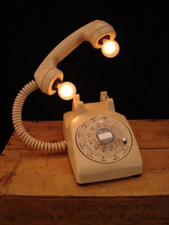 Upcycled Vintage Beige Rotary Telephone Lamp