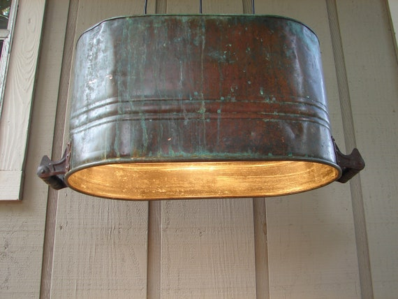 RESERVED for Carolyn / Upcycled Antique Copper Canning Tub Lighting Pendant
