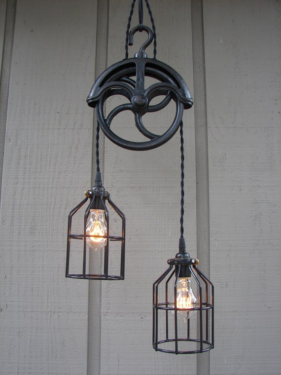 Upcycled Vintage Well Pulley Pendant Light with Bulb Cages