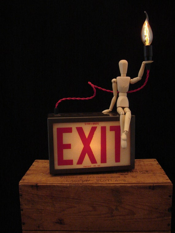 RESERVED for Jodi / Upcycled Vintage Exit Sign