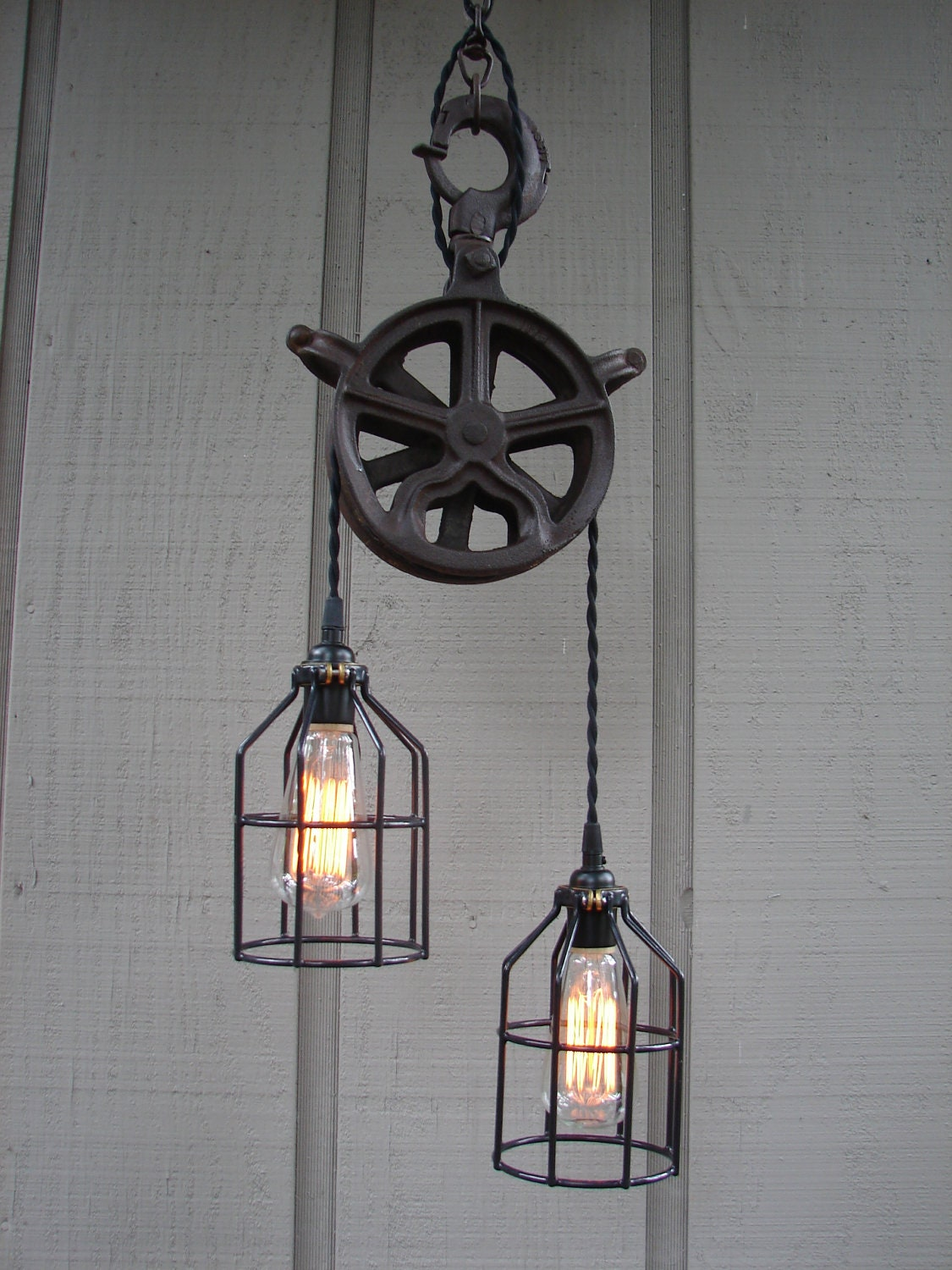 Reserved For Maria Vintage Industrial Pulley Lighting