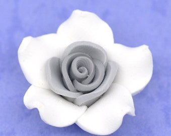 SALE 5 White & Gray Flower Beads - Polymer Clay - Rose - Charm Beads - 25x14mm - Ships IMMEDIATELY from California - B107