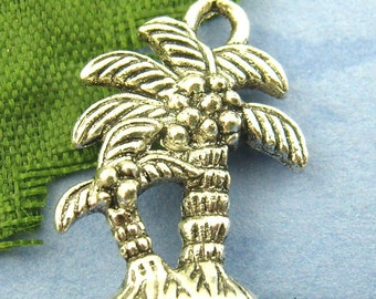 SALE 8 Silver Palm Tree Charms - Antique Silver - Two Coconut Palms -18x13mm - Ships IMMEDIATELY from California - SC249