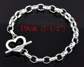 """Silver Heart Bracelet - Toggle Clasps - 7 1/2"""" (19cm) - Ships IMMEDIATELY  from California - CH76"""