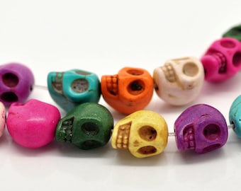 Skull Beads Assorted Turquoise 13x10mm 1 Strand apx 30pcs - Ships IMMEDIATELY  from California - B275