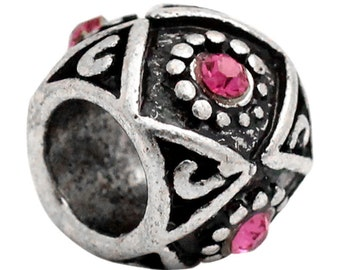 5 Rhinestone Beads - Fuchsia - Antique Silver - Carved - 10mm -  Ships IMMEDIATELY from California - B752