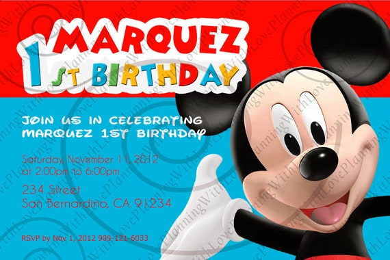 Items similar to Mickey Mouse Clubhouse Invitation on Etsy