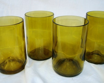 Wine bottle tumblers in Yellow Green Chardonnay Drinking Glass Set Beer Wine Gifts OOAK