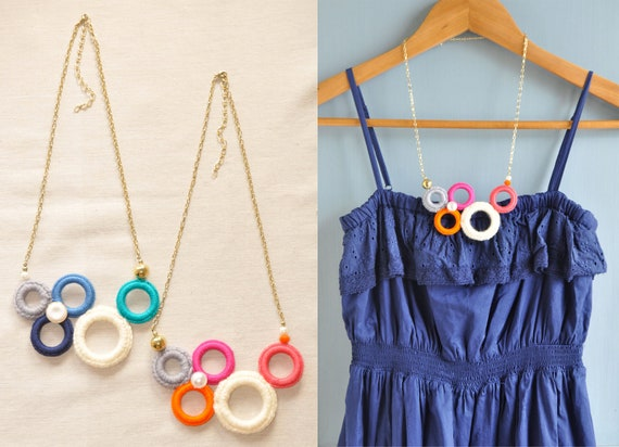 Bubble Bauble Crochet Rings Asymmetrical Necklace