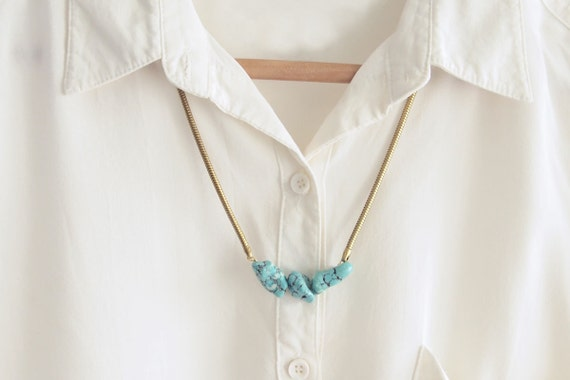 Turquoise Necklace : Raw Turquoise Magnesite Nuggets on Vintage Snake Chain