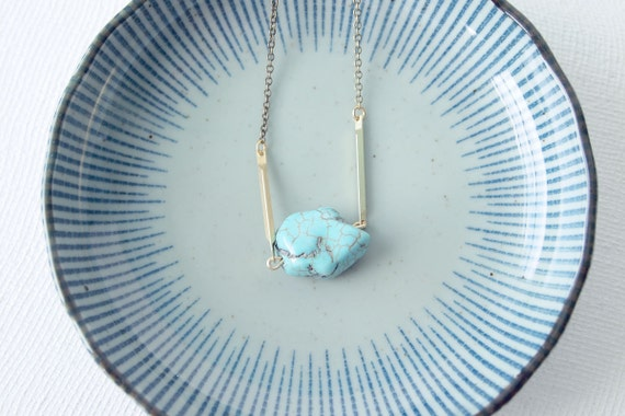 Turquoise Necklace : Single Raw Turquoise Magnesite Nugget on Brass, Gifts for her