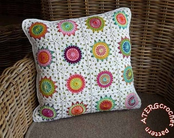 Crochet pattern circles in granny square by ATERGcrochet included pillow cover, placemat, afghan