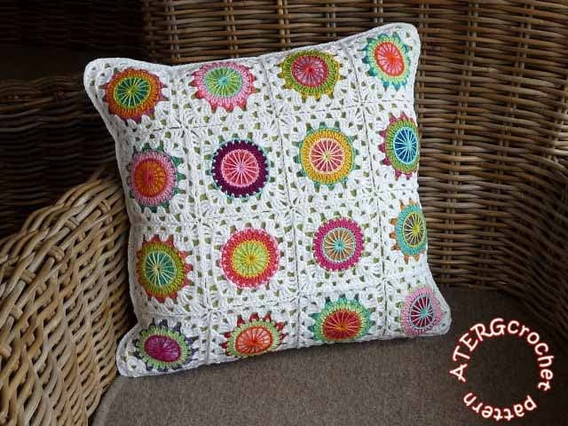 Crochet Pattern Granny Square Pillows : Crochet pattern circles in granny square by ATERGcrochet