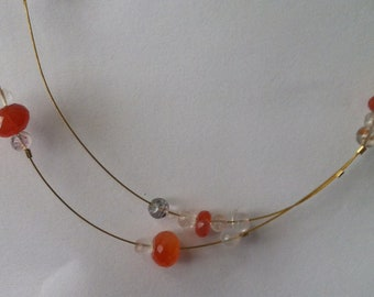 Double strung Carnelian and Prehnite necklace