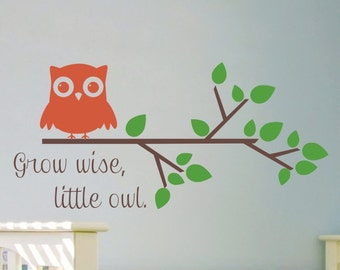 Kids Room Wall Decal Grow Wise Little Owl Baby Girl Nursery Wall Decal Baby Boy Tree Branch Decal Owl Vinyl Lettering Removable Decorations
