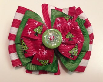 Red Green Sparkle Christmas Tree Glitter Candy Cane HOLIDAY CHRISTMAS Boutique Style Ribbon Bow Handmade for PETS Dog Collar Accessory