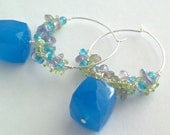 Clustered and Cubed, Blue Chalcedony Cubes and Peridot, Amethyst Labradorite Clustered Hoop Earrings