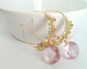 Whispering Twilight Bouquet, Double-Convex Pink Mystic Quartz Cluster Hoop Earrings