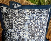 Indigo Blue and White Balinese Barong Batik Pillow/Cushion Cover - SiameseDreamDesign