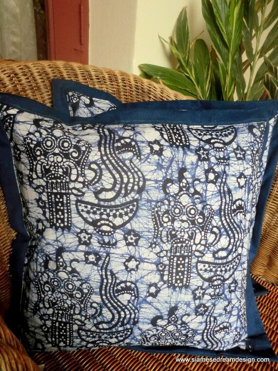 Indigo Blue and White Balinese Barong Batik Pillow/Cushion Cover