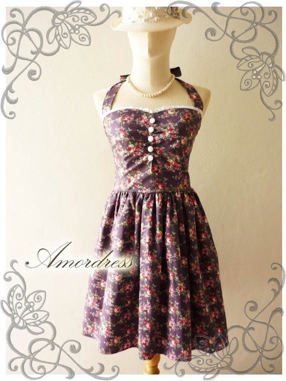Once Upon A Time Vintage Inspired Party Dress Halter Neck Gorgeous Bella Purple Rose Paradise w/ Little While Lace Dress  -Size M-