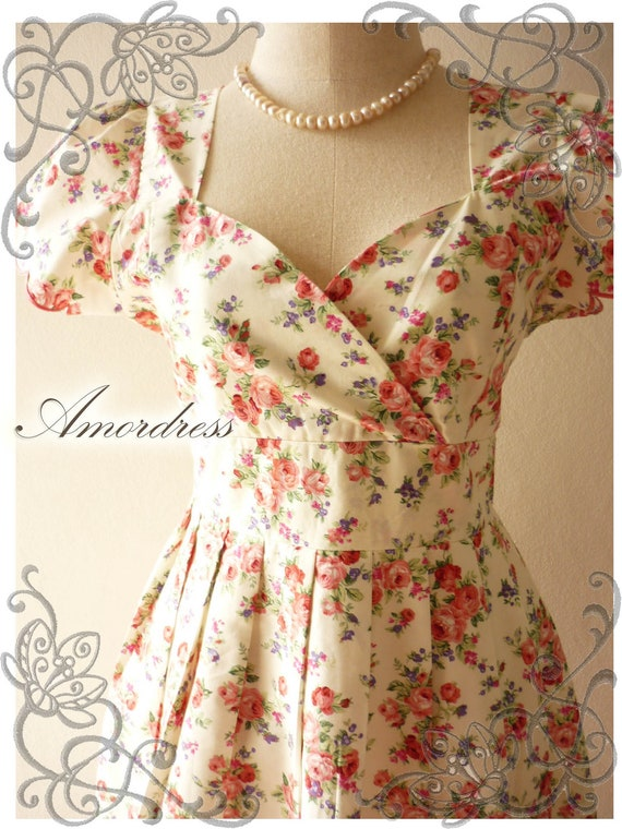 Lady Duchess Amor Vintage 50's Inspired Cream Soft Red Lavender Floral Sweet Gorgeous Dress -Size S-M-