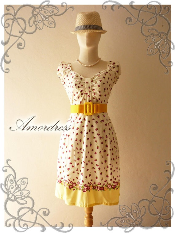 Dolly Me...Amor Vintage Inspired Lovely Dolly Sleeve Red Strawberry Special Yellow Shade Dress  -Fit S-M -