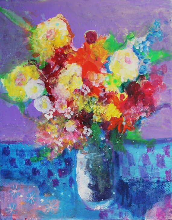 """Small Abstract Floral Painting on Canvas Colorful """"Summer Blooms"""""""
