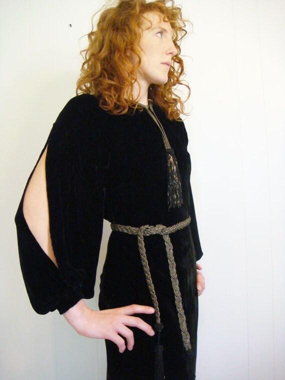 On Hold Do Not Buy Vintage 1930s Black Velvet Dress Gothic Gold Braid and Tassel Details Slit Sleeves Size Large