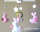 Baby Mobile - Baby Girl Mobile - Bunny Mobile - Girl Nursery Mobile
