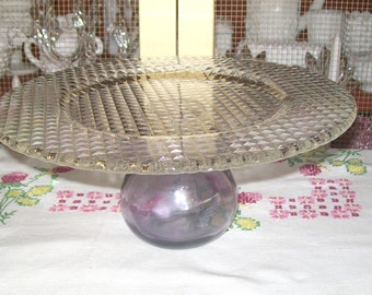 Pedestal Cake Plate,Up-cycled Clear Glass Plate and Vintage Amethyst Flask