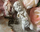 Cherub Charlotte with Silk Sari Ribbon, French Lace and Mini Rose Necklace, Sweet Rose