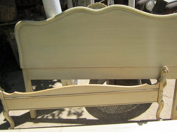RESERVED for RICK French provincial  Vintage Head board and footboard  side rails chippy painted cream and gold  ornate full size