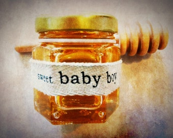 "24 Qty ""sweet baby boy"" honey shower favor gift with dipper"