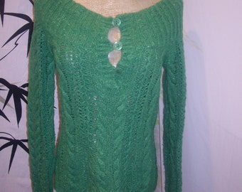 1970s  thick  cable knit  Wool and RABBIT HAIR  tribal Green  sweater sm american eagle