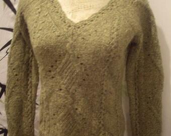 vtge1970s  thick crochet cutout v neck,  Wool, Angora Rabbit Hair, CASHMERE  avocado  dark Green  sweater Sm med