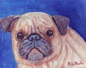 Pug Dog Portrait, Pet, Children's Room Decoration,  4 x 5  Original Watercolor on Canvas Painting - FREE SHIPPING - by Artist Ricky Martin