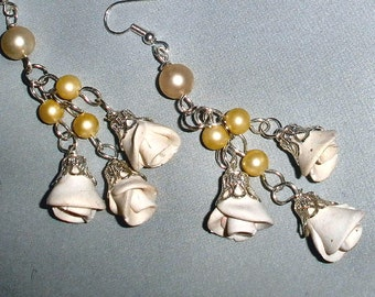 Bridal Wedding earrings - handmade rose buds and faux pearls - polymer clay